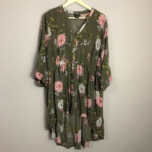 Torrid Olive Green Floral Babydoll Tunic Top